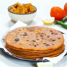 Tomato Paratha With Instant Jimikand Pickle