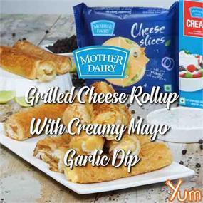 Grilled Cheese Rollup with Creamy Mayo Garlic Dip